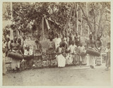 Traditional theatre group, Ceylon, c 1870.