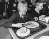 School dinner, March 1981.