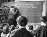 No-gun rule at primary school, Congleton, Cheshire, March 1966.