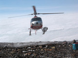 Helicopter landing, Antarctica, 2006.