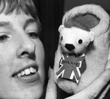 Designer Judith Knight with 'World Cup Willie' child's slipper, January 1966.