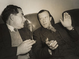 British script writers 'Tibby' Clarke and Jack Whittingham, November 1950.