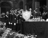 The Duchess of York presenting a shield to paramedics, 15 May 1931.