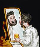 A bearded man after using hair restorer, magic lantern slide, 19th century.