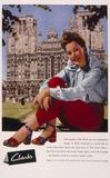 Greta Gynt advertising Clarks shoes, 1940s.