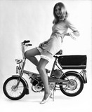 Model on a Raleigh bicycle, April 1967.