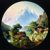 Summer scene in the mountains. Hand-coloure
