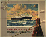 """'Harwich - Hook of Holland', Zeeland Steamship Company poster, 1930."""