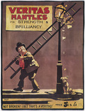 """Advertisement for Veritas Mantles, showing"""