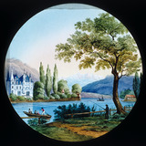Lakeside scene with a punt and a man fishin
