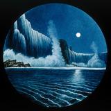 Night scene of a lake and waterfall. Hand-