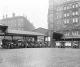 """Midland Hotel and cars at Manchester Central Station, 29 October 1929"""