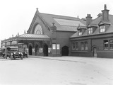 """Exterior of Barrow Station, Cumbria, 11 February 1930. """
