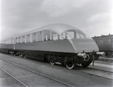 Coronation train car. Doncaster, England, 1937.