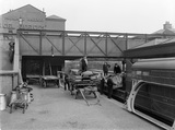 Theatrical train at Nottingham unloading scenery, 9th April 1910.