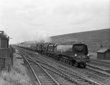 Locomotives 34004 'Yeovil' and 6163 'Civil Service Rifleman' near Shap Box in 1948. (Eric Treacy, MH_ET_SR_10)