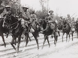 Indian cavalry on the march during the British advance in the west, WWI.
