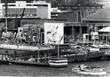 Festival pier and Siegfried Charoux stone relief at the Sea and Ships Pavilion, Festival of Britain, 1951