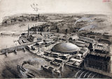 Festival of Britain aerial view, 1951. Sketch, watercolour