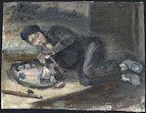 Oil painting of a man smoking an opium pipe, Europe