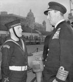 Lord Mountbatten chats with Cadet Leading Seaman Ian Mullock.