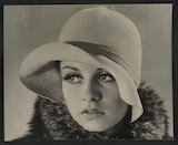 Portrait of the model, Twiggy, modelling hat and fur coat
