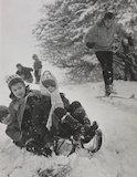 Winter sports in heavy snow on Hampstead Heath, 1962