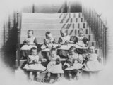 Infants Playing With Toys on the Stone Steps at Crumpsall Workhouse, Manchester - c1890