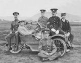 A Group of Army Officers with a Three Wheel Morgan Car - c1911