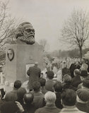 Karl Marx memorial is unveiled at Highgate Cemetery, 1956