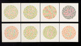 Set of eight Ishihara charts for testing colour-blindness, c 1959.