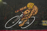 Graffiti in East London of Olympic cyclist by Otto Schade