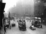 Trams running along Deansgate, Manchester, 31 March 1921.