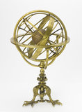 Armillary sphere on triple claw feet and inner wooden globe. 1554.