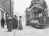 People Waiting for Trams. Halifax, West Yorkshire, c1910