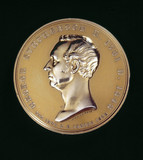 Commemorative medal depicting George Stephenson.