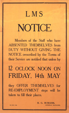 LMS staff notice threatening striking employees with dismissal, 1926.