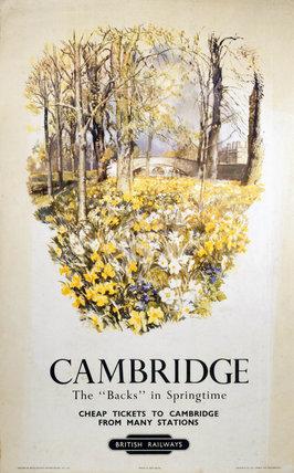 'Cambridge - The 'Backs' in Springtime', BR (ER) poster, 1950.