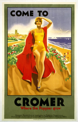 'Come to Cromer, Where the Poppies Grow', LMS/LNER poster, 1923-1947.
