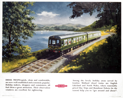 Diesel Train near Basenthwaite Lake, BR (LMR) poster, c 1950s.