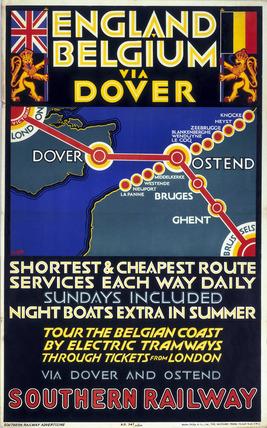 'England - Belgium via Dover', SR poster, 1923-1947.
