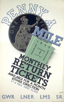 'Penny a Mile', LNER/LMS/GWR/SR poster, 1935.
