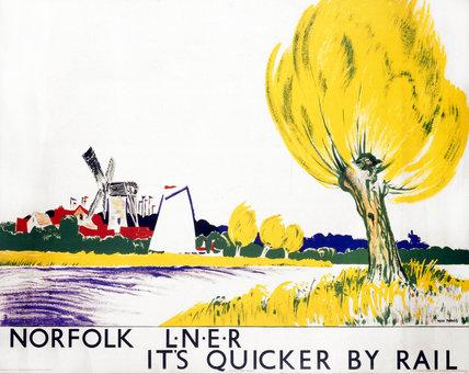 'Norfolk - It's Quicker by Rail', LNER poster, 1923-1947.