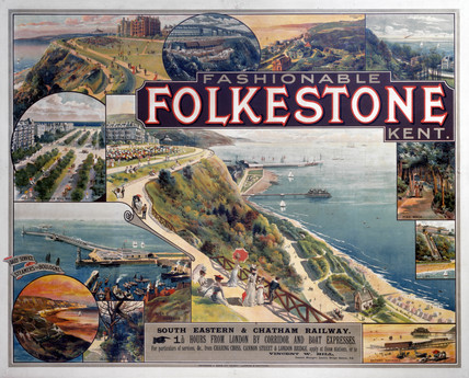 'Fashionable Folkstone, Kent', SE & CR poster, c 1910.