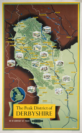 'The Peak District of Derbyshire', BR (LMR) poster, 1948-1965.