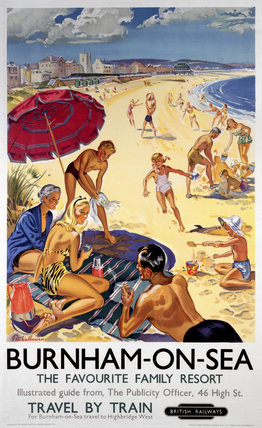 'Burnham-on-Sea', BR (WR) poster, c 1950s.