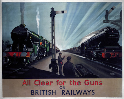 'All clear for the guns', BR poster, 1940s.