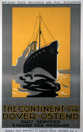 'The Continent via Dover - Ostend', Belgian State Railways poster, c 1920s.