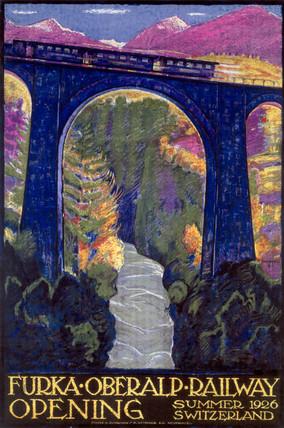 'Furka-Oberalp Railway Opening', railway poster, 1926.