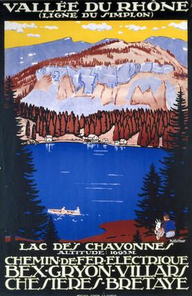 'Vallee du Rhone', railway poster, c 1930s.